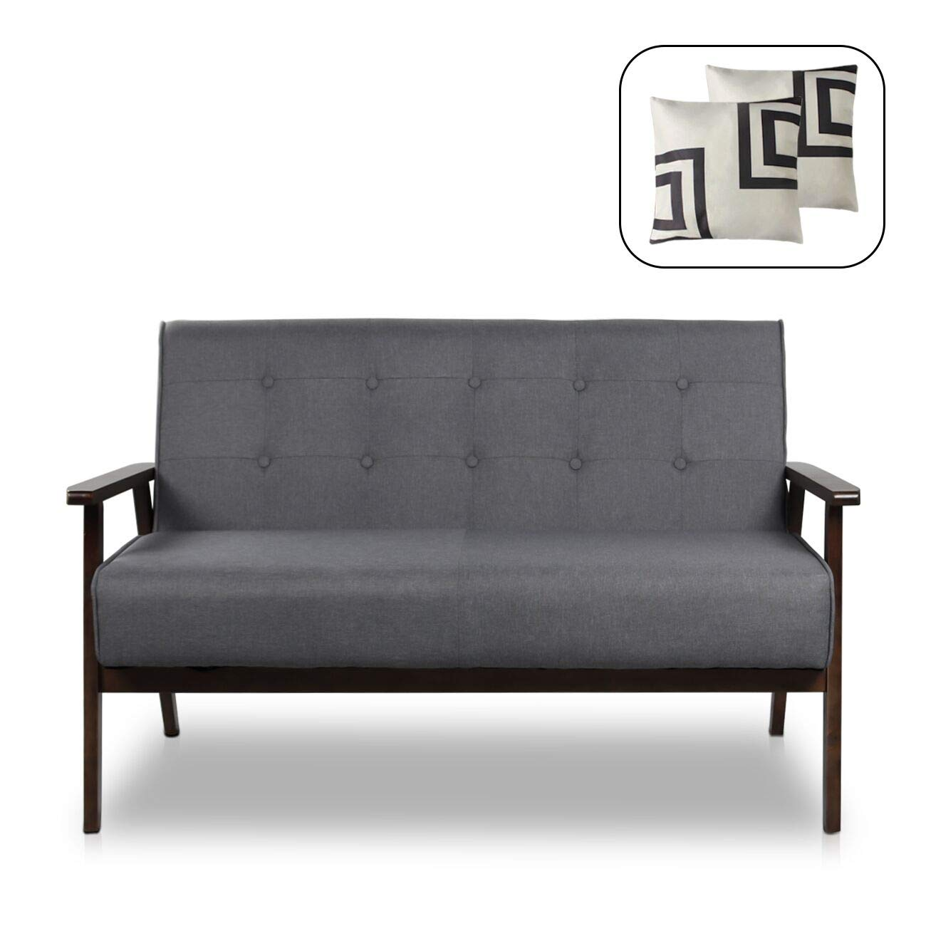 Mid-Century Modern Solid Loveseat Sofa Upholstered Fabric Couch 2-seat Wood Armchair Living Room/ Outdoor Lounge Chair, 50 W