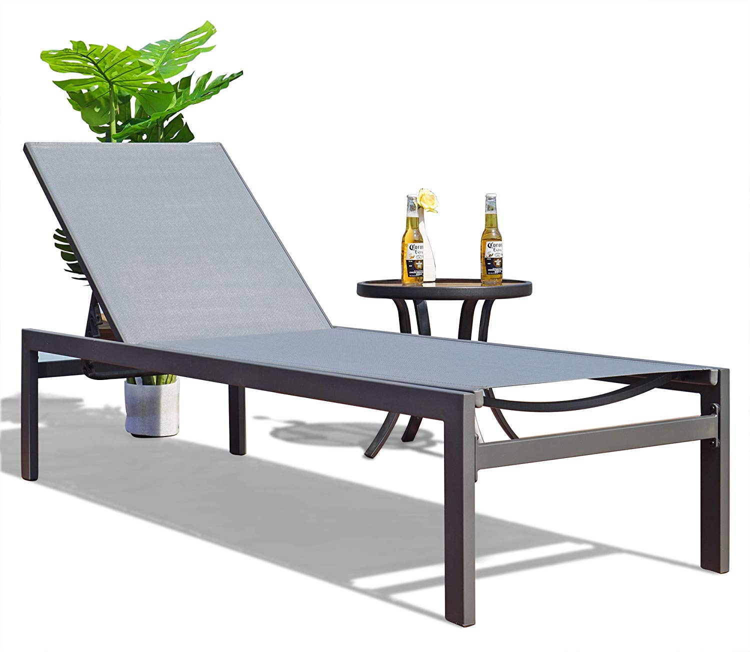 Kozyard Modern Full Flat Aluminum Patio Reclining Adjustable Chaise Lounge