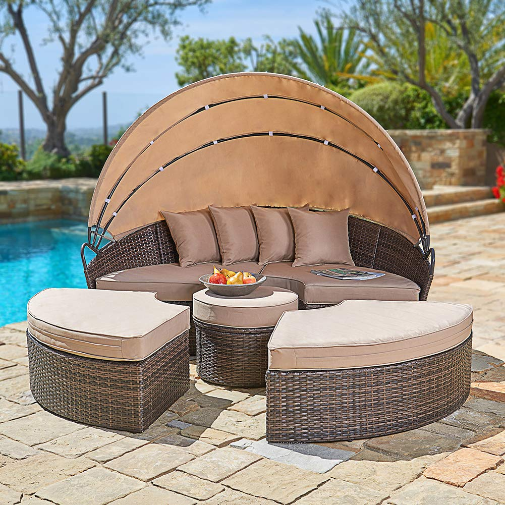 SUNCROWN Outdoor Patio Round Daybed with Retractable Canopy, Brown Wicker Furniture Clamshell Sectional Seating with Washable Cushions, Backyard, Porch, Pool