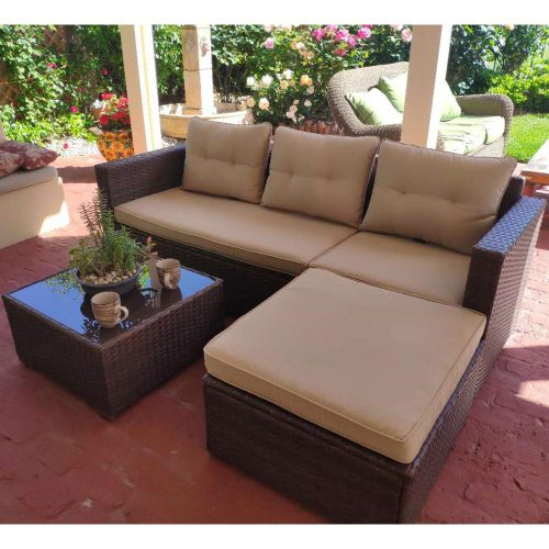 SUNSITT Outdoor Sectional Sofa 4 Piece Furniture Set All Weather Brown Wicker