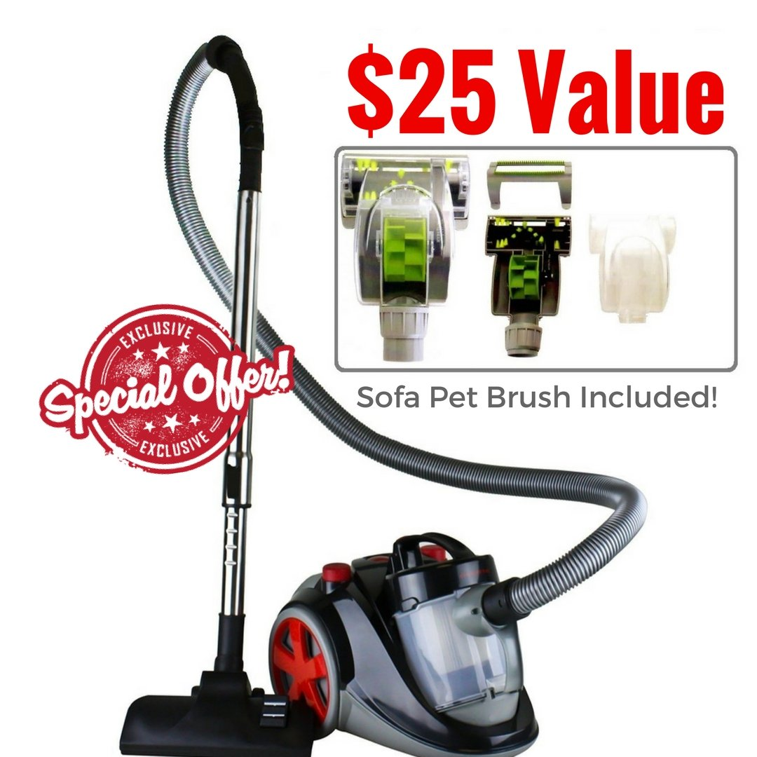 Ovente Bagless Canister Cyclonic Vacuum with HEPA Filter Comes with Pet/ Sofa Brush, Telescopic Wand, Combination Bristle Brush/ Crevice Nozzle and Retractable Cord, Featherlite, Corded