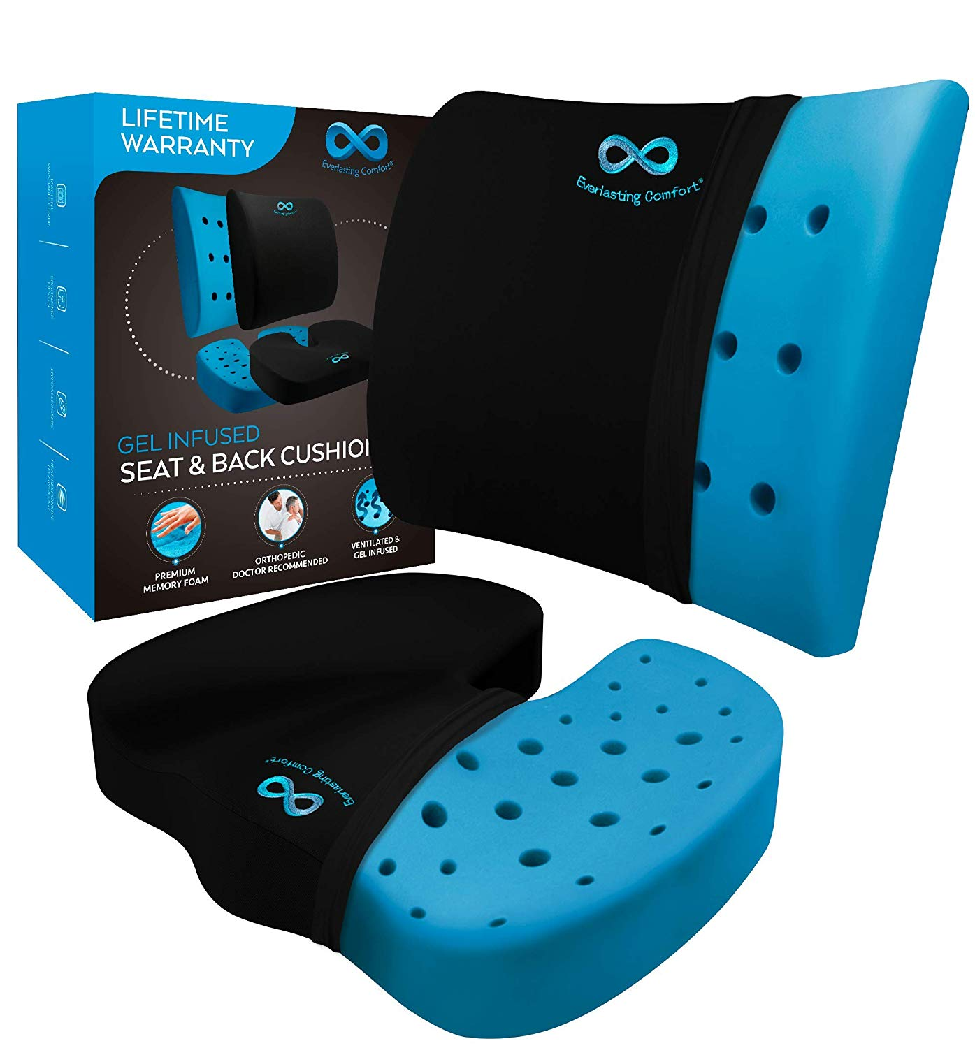 Memory Foam Seat Cushion/ Back Cushion Combo, Gel Infused & Ventilated, Orthopedic Design, Perfect for Office Chair