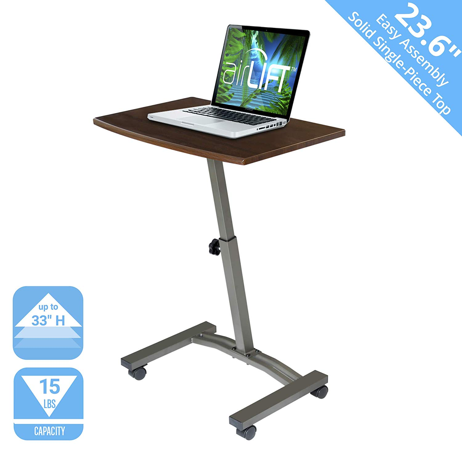 Seville Classics WEB162 Solid-Top Height Adjustable Mobile Laptop Desk Cart