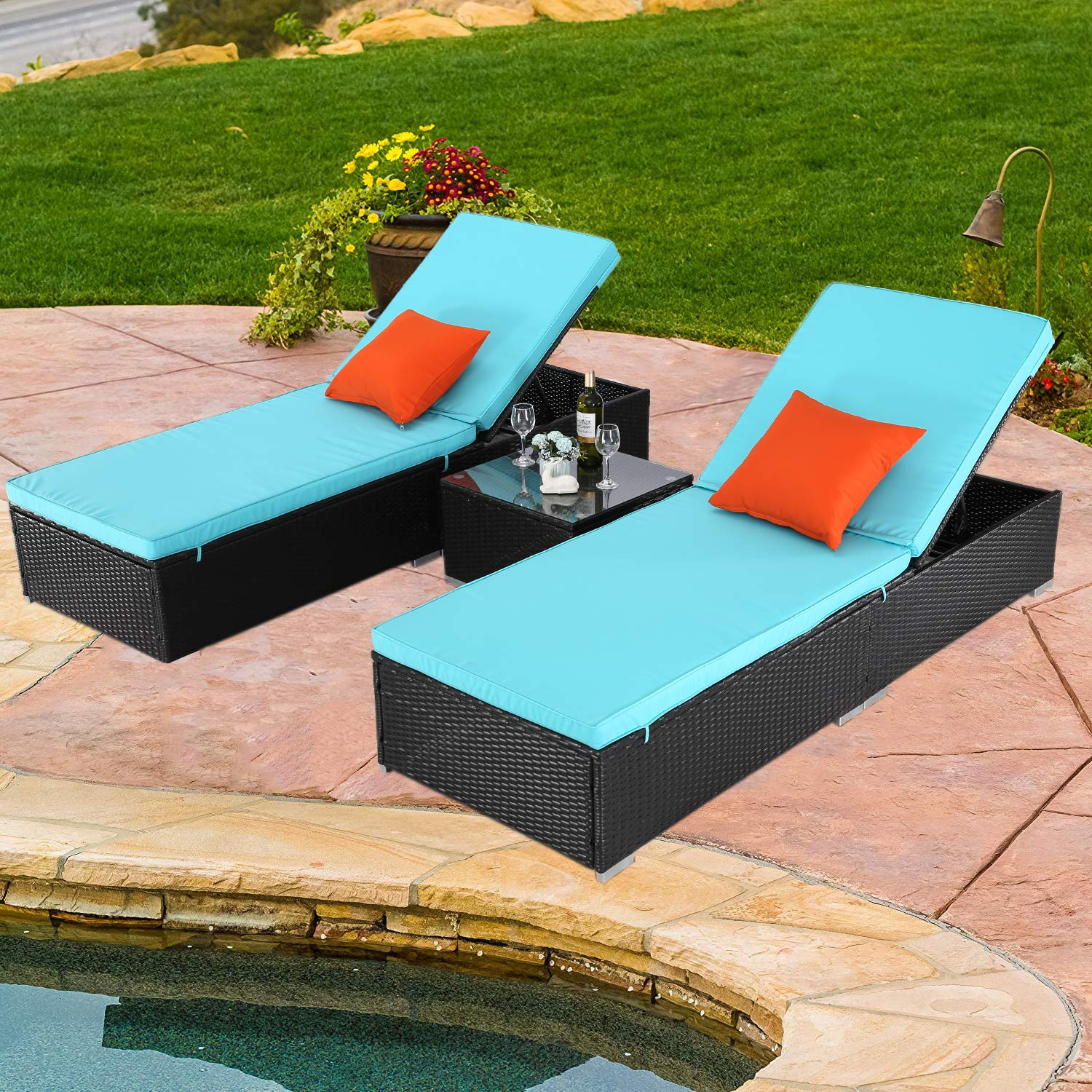 D04U 3 pcs Outdoor Patio Synthetic Adjustable Rattan Wicker Furniture Pool Chaise Lounge Chair