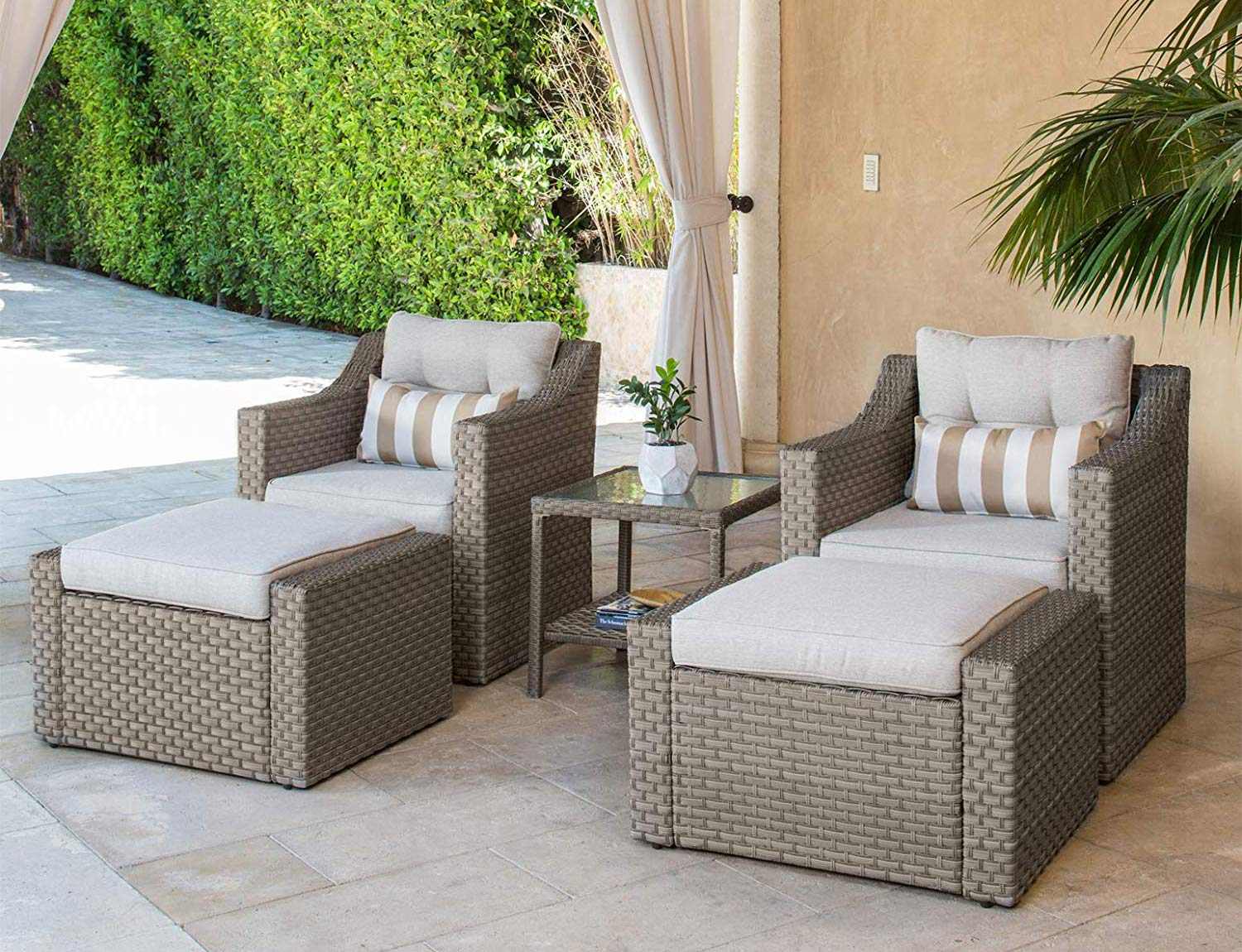SOLAURA Patio Sofa Sets 5-piece Outdoor Furniture Set Gray Wicker Lounge Chair & Ottoman with neutral Beige Olefin Fiber Cushions &Glass Coffee side Table