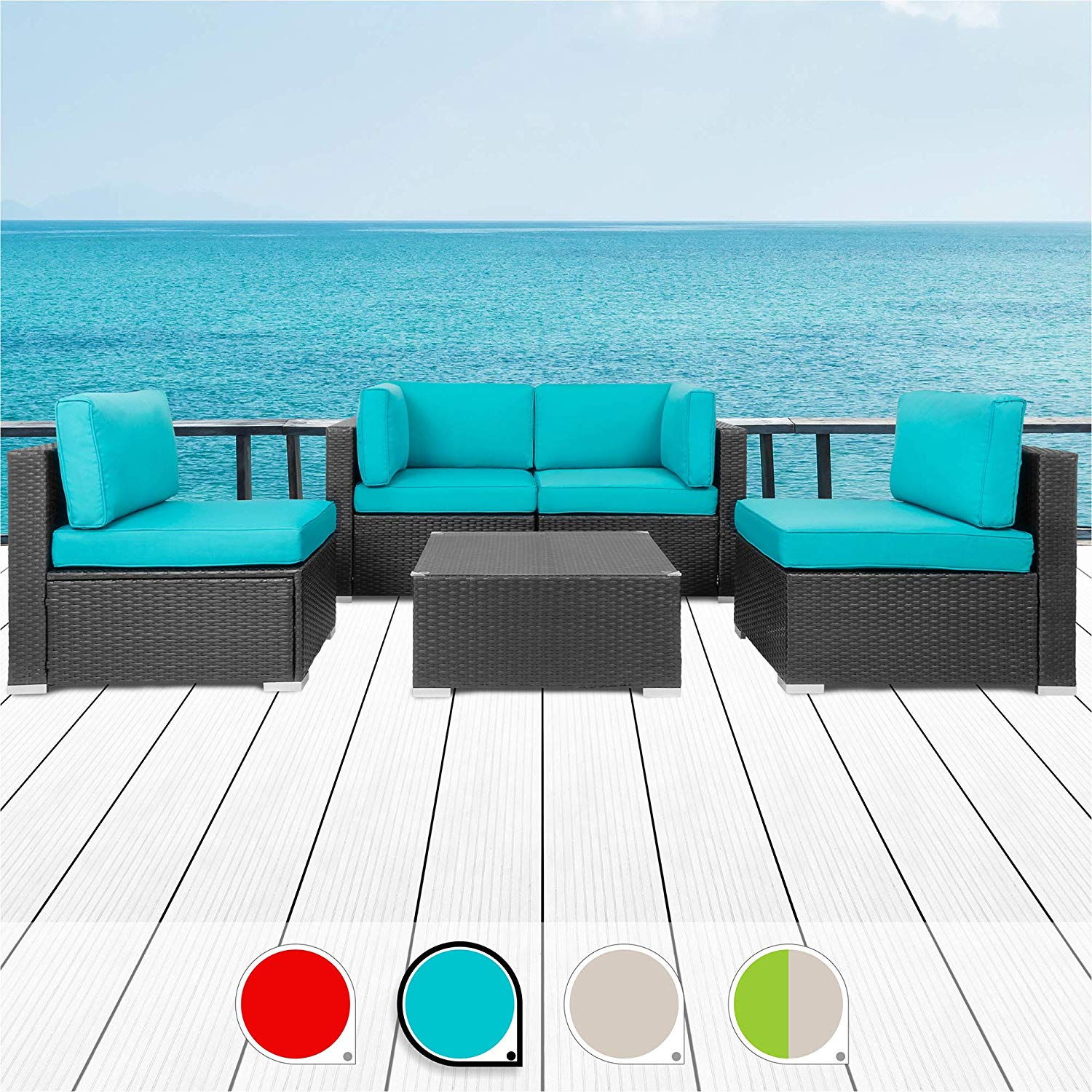 Walsunny 5pcs Patio Outdoor Furniture Sets, Low Back All-weather Rattan Sectional Sofa with Tea Table & Washable Couch Cushions