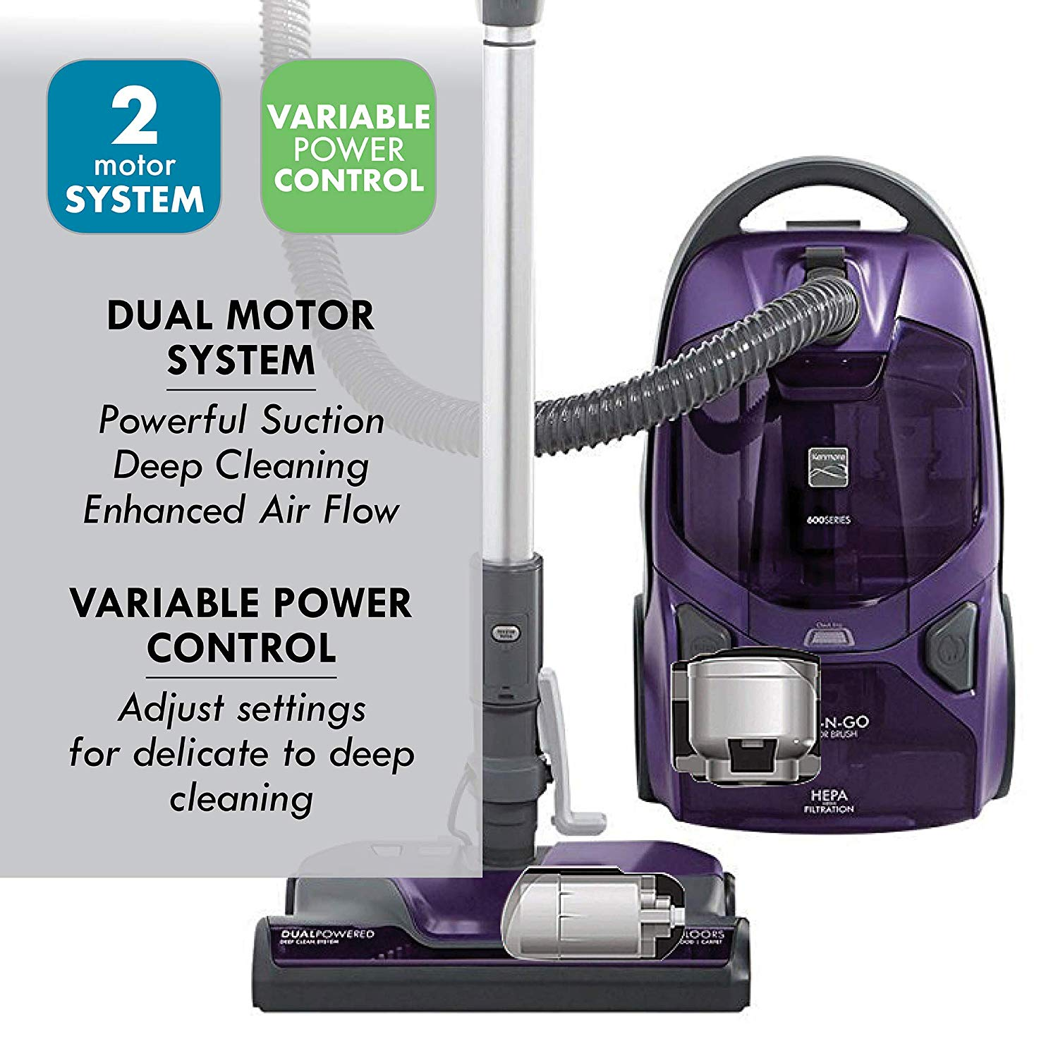 Kenmore 600 Series Friendly Lightweight Bagged Canister Vacuum with Pet Powermate, Pop-N-Go Brush, 2 motors, HEPA Aluminum Telescoping Wand, Retractable Cord, and 3 Cleaning Tools