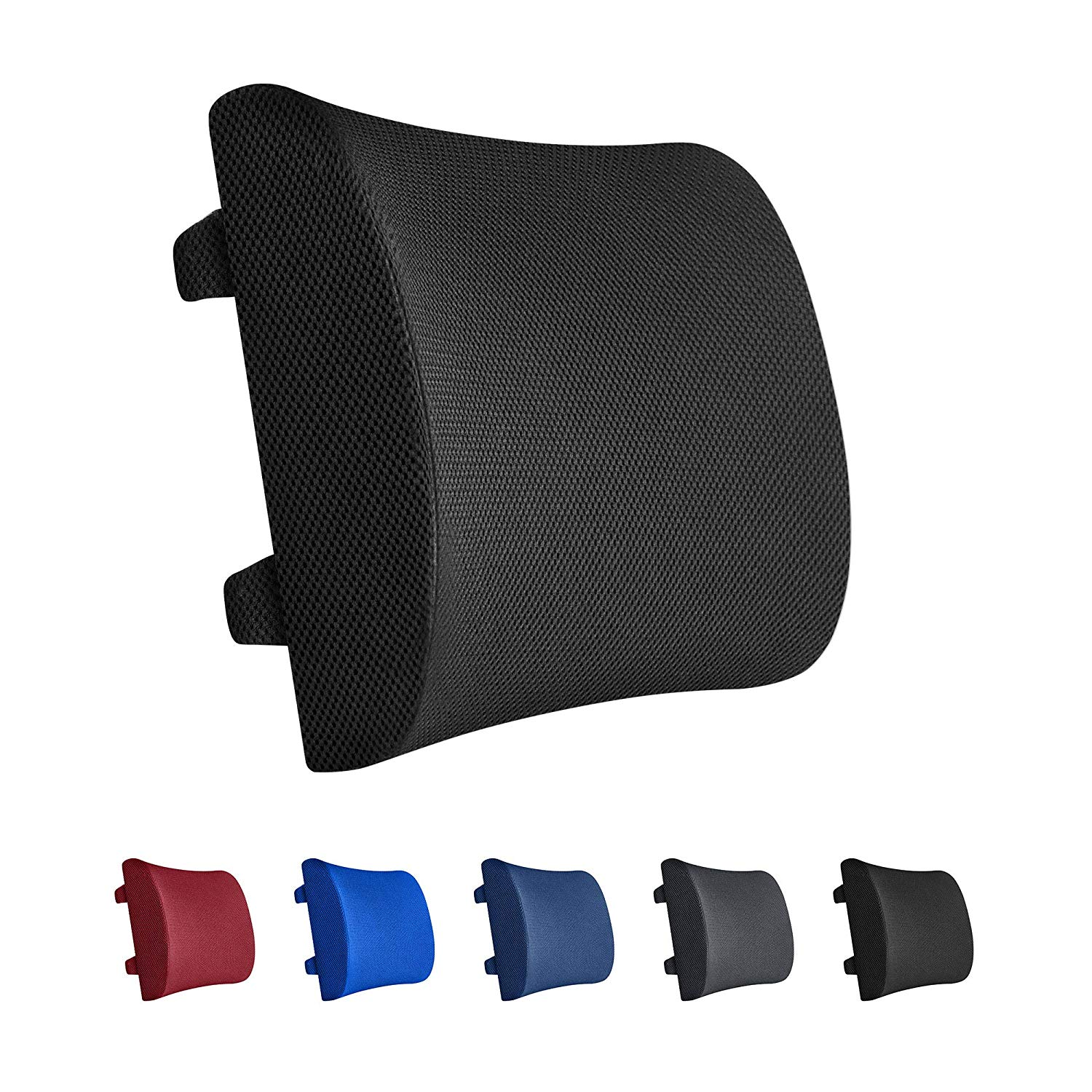 Everlasting comfort 100% pure memory foam back cushion-lumbar support pillow for office, car, and chair, standard, black
