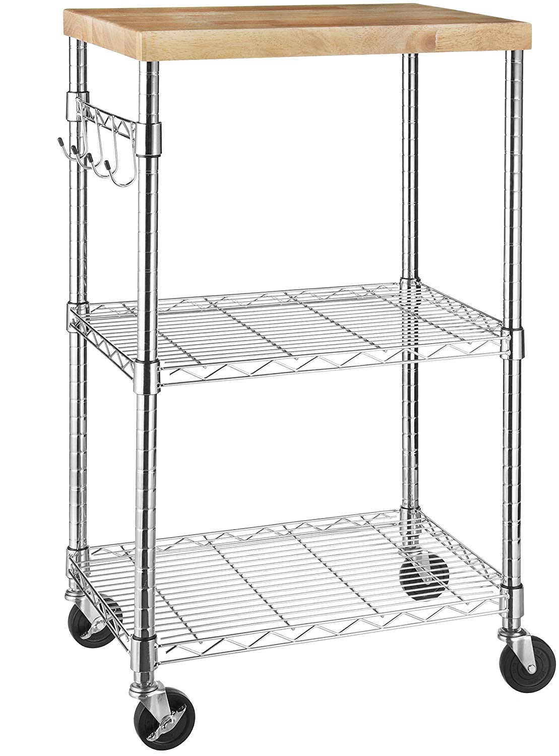 AmazonBasics Kitchen Rolling Microwave Cart on Wheels, Storage Racks