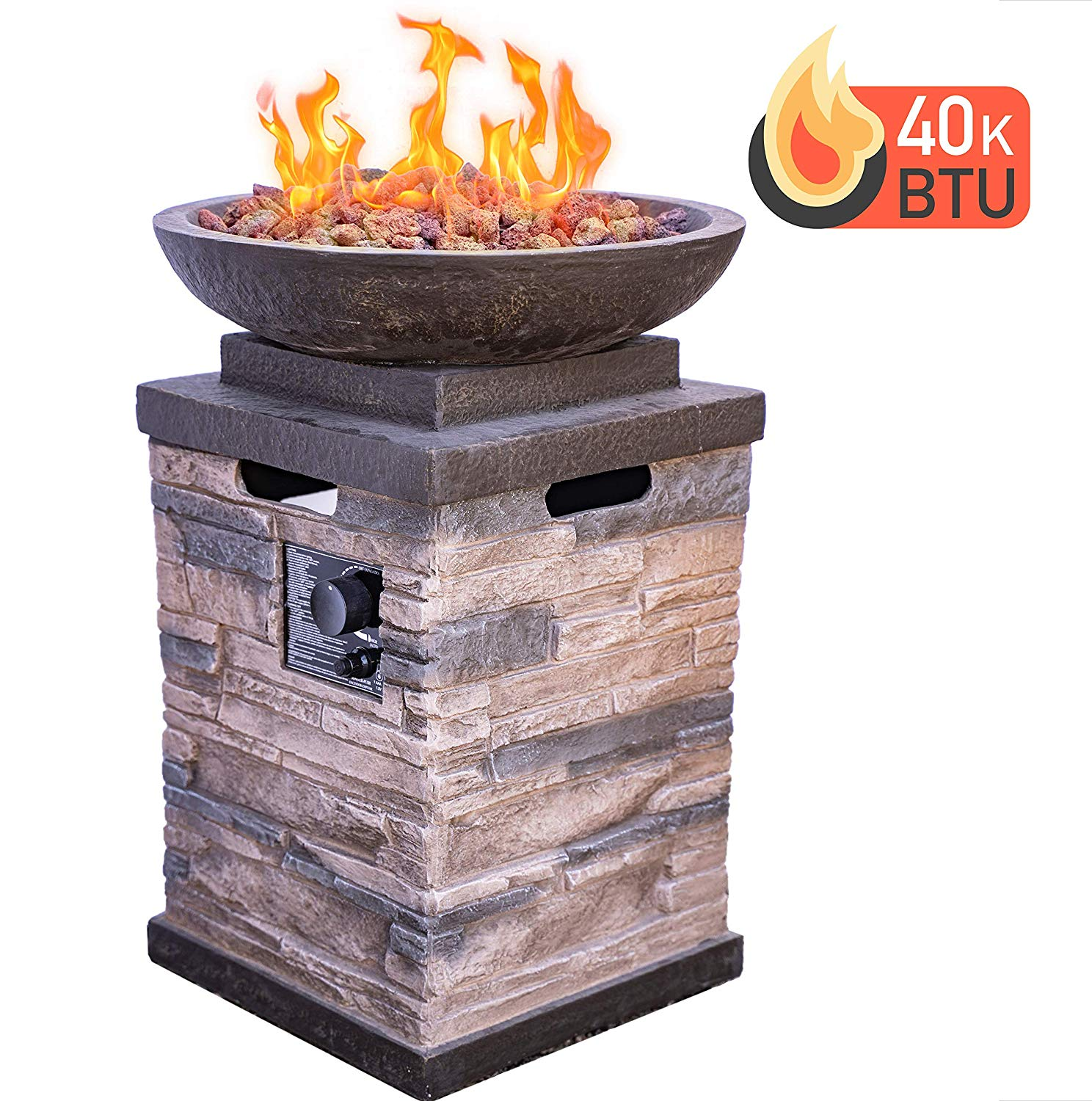 Bong Manufacturing 63172 Newcastle Propane Firebowl Column Realistic Look Firepit