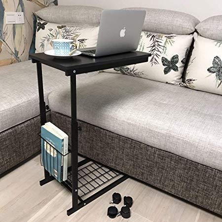 micoe Height Adjustable with Wheels Sofa Side Table Slide Under Adjustable Console Table with Storage for Entryway Hallway