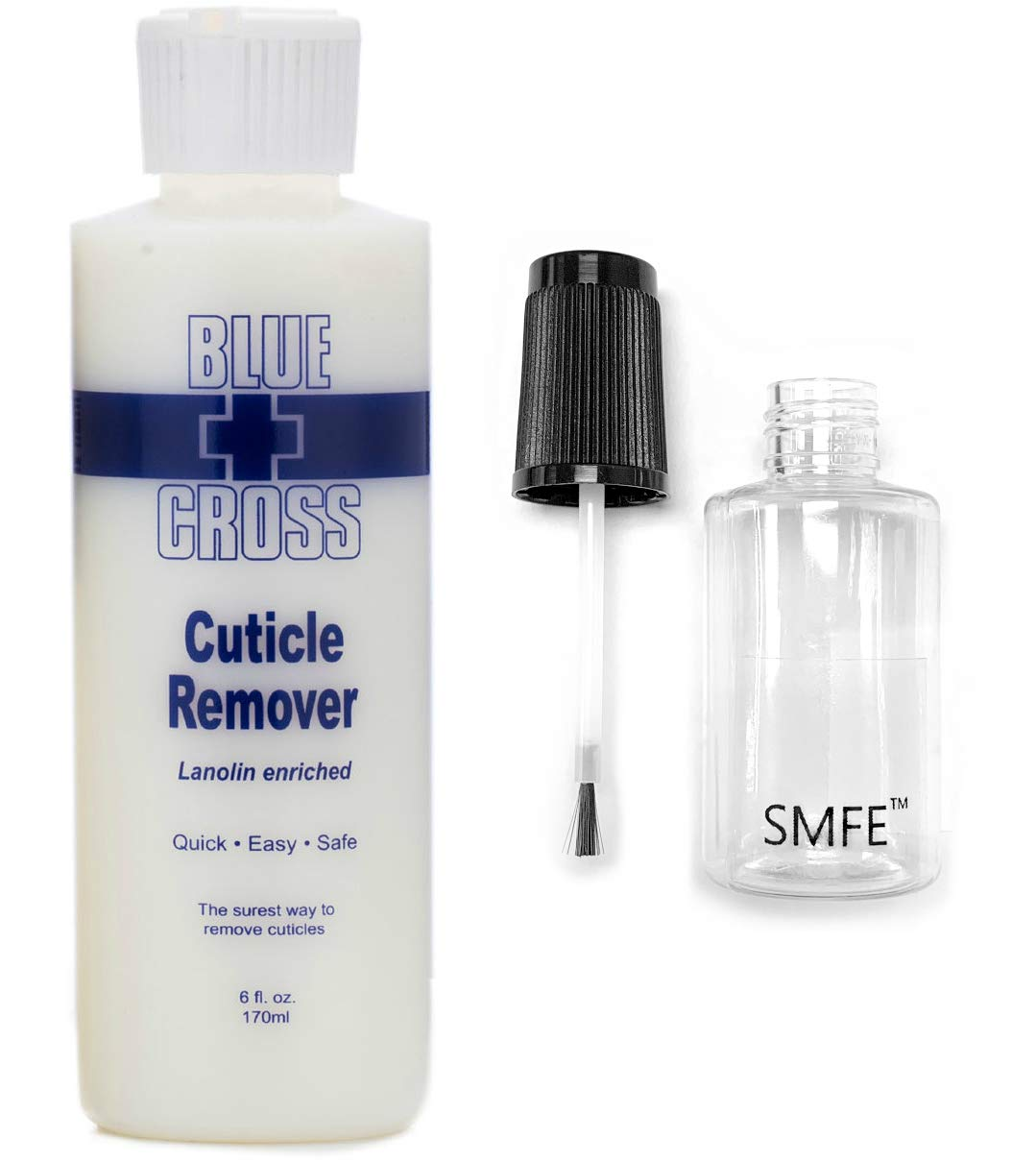 Blue Cross Cuticle Remover 6 Ounce Bundle with SMFE Empty Applicator Bottle