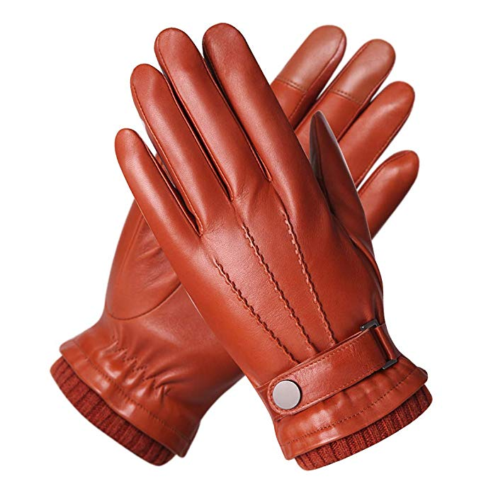 Men's Texting Touchscreen Winter Warm Nappa Leather Gloves