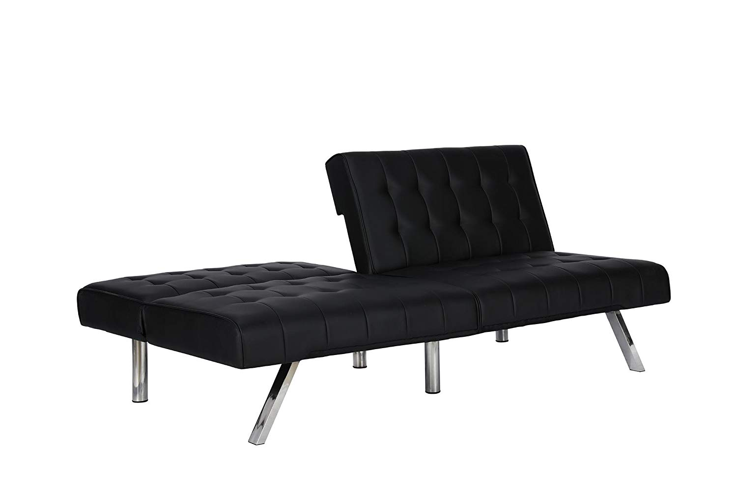 DHP Emily Sectional Futon Sofa with Convertible Chaise Lounge