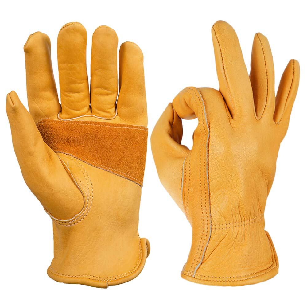 OZERO Flex Grip Leather Work Gloves
