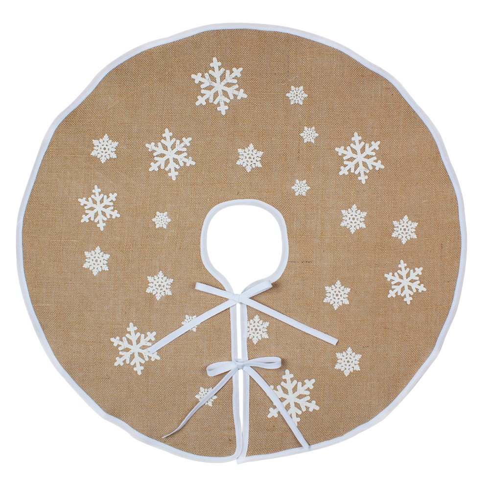 AerWo Burlap Snowflake Christmas Tree Skirt