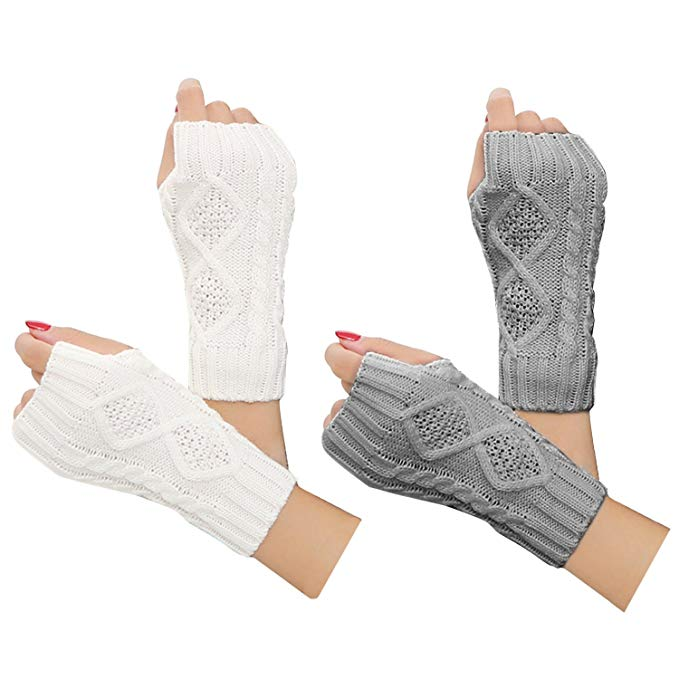 2-4 Pairs Women Winter Warm Knit Fingerless Gloves