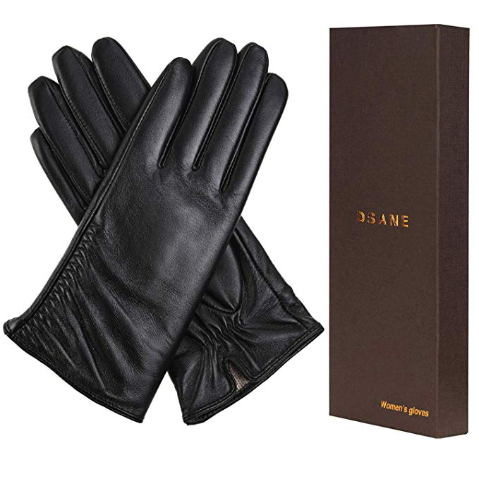 Women's Winter Leather Touchscreen Texting Warm Driving Lambskin Gloves