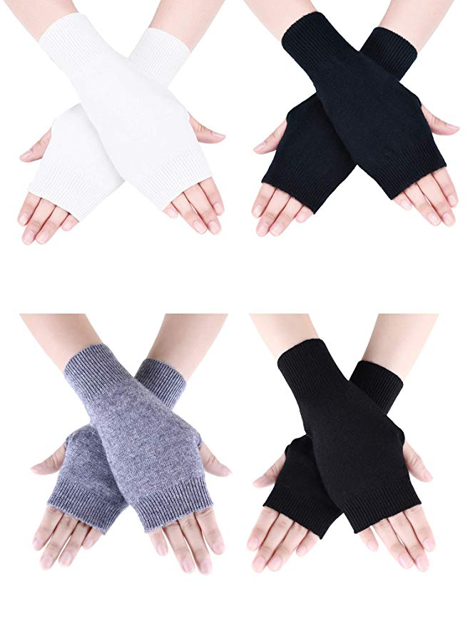 Tatuo 4 Pairs Cashmere Feel Fingerless Gloves