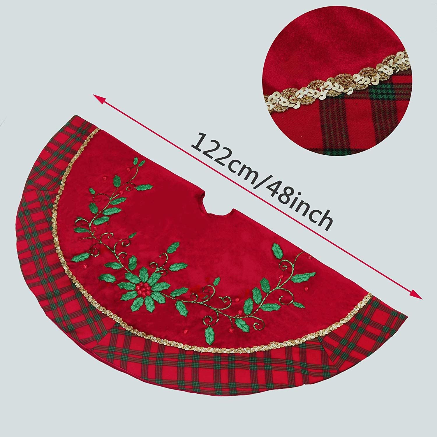 TFWell Red Green Christmas Tree Skirt