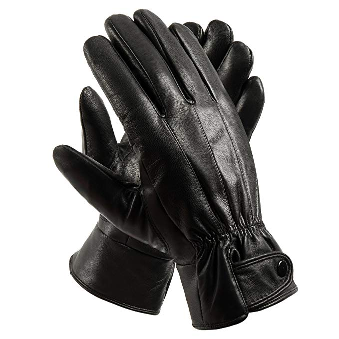 Anccion Men's Leather Warm Lined Driving Gloves, Motorcycle Gloves