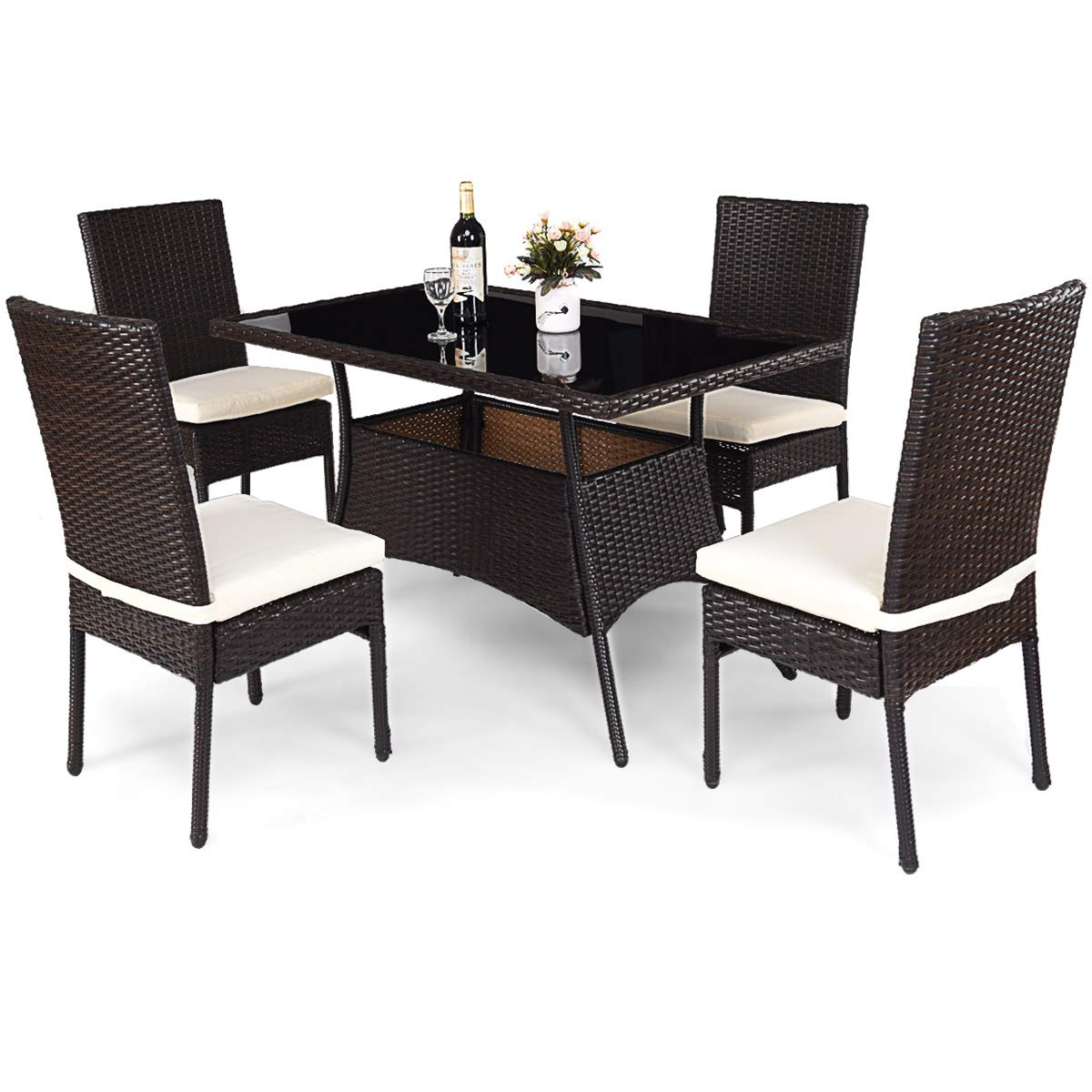 Tangkula Patio Furniture, 5 pcs All Weather resistant Heavy Duty Wicker Dining Set