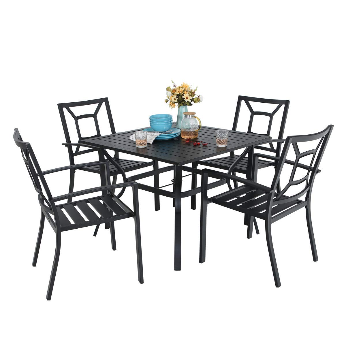PHI VILLA 5 Piece Patio Armrest Dining Chairs and Large Square Table Set