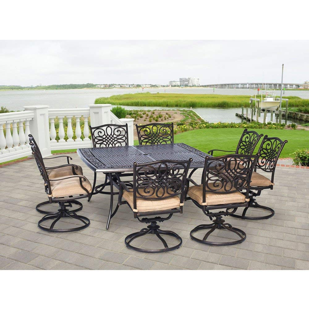 Hanover TRADDN9PCSWSQ-8 Traditions 9-Piece Rust-Free Aluminum Patio Dining Set