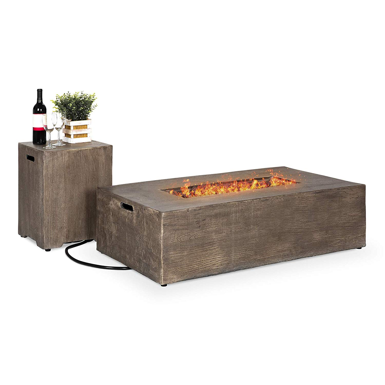 Best Choice Products Outdoor Patio Rustic Farmhouse Propane Fire Pit