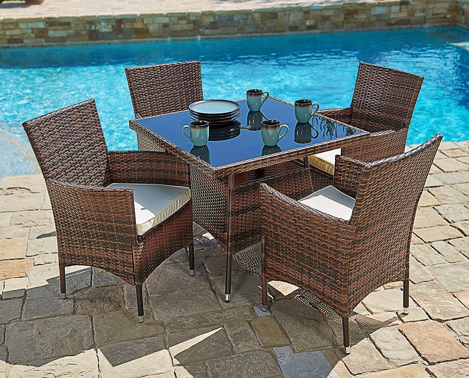 SUNCROWN Outdoor Furniture All-Weather Square Wicker Dining Table and Chairs