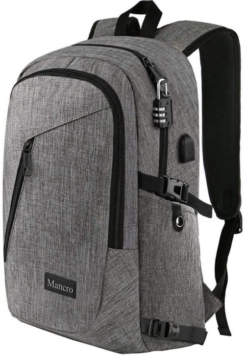 Mancro Water Resistant College Laptop Backpack.