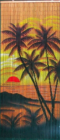 Tropical Sunset Palm Trees Beaded Curtain