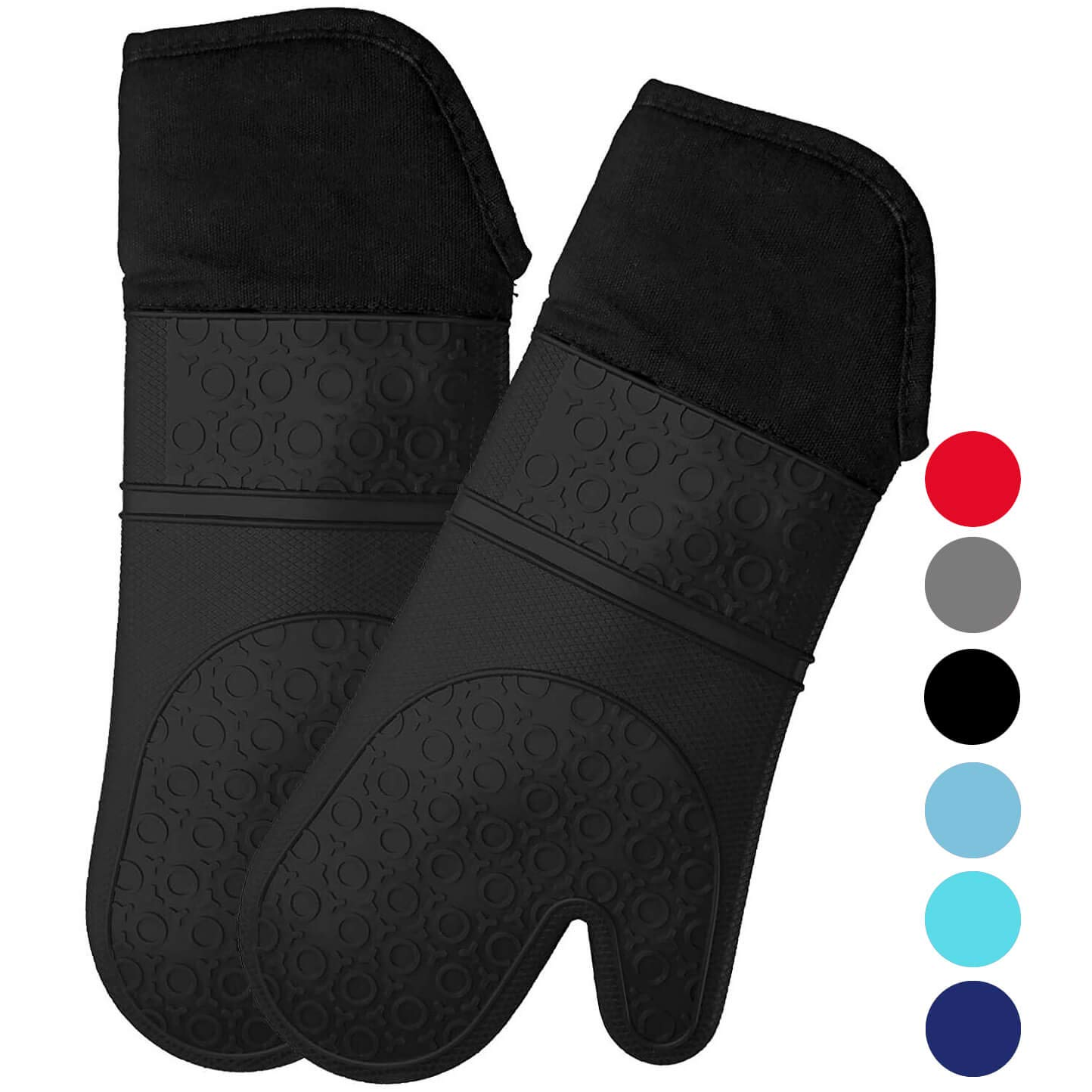 Homwe Extra Long Silicone Oven Mitts with Quilted Cotton Lining