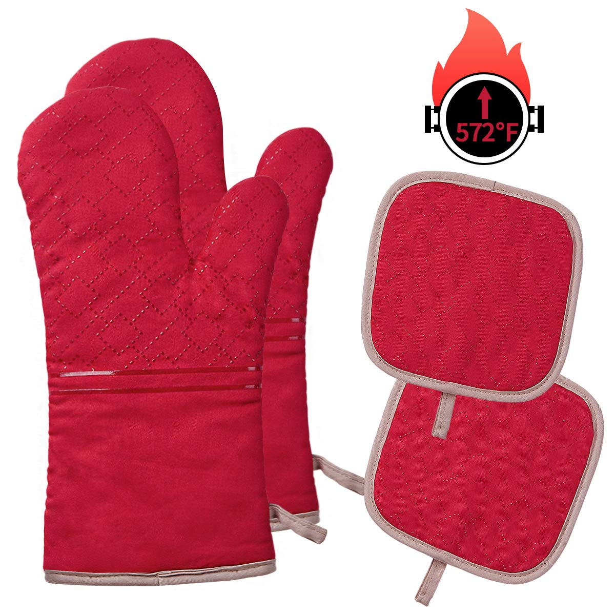 YOUTAI Oven Mitts and Pot Holders, 4PCS Oven Mitts Set