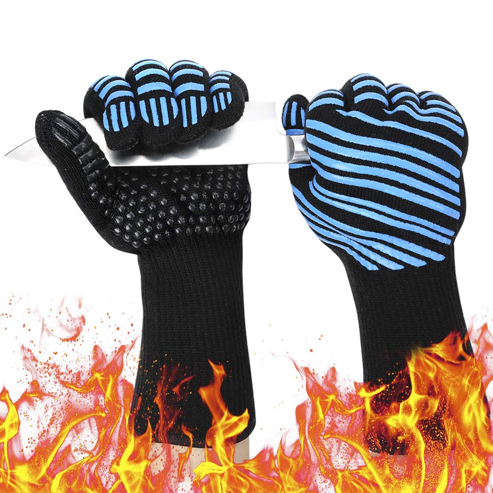 932℉ Extreme Heat Resistant BBQ Gloves, Food Grade Kitchen Oven Mitts
