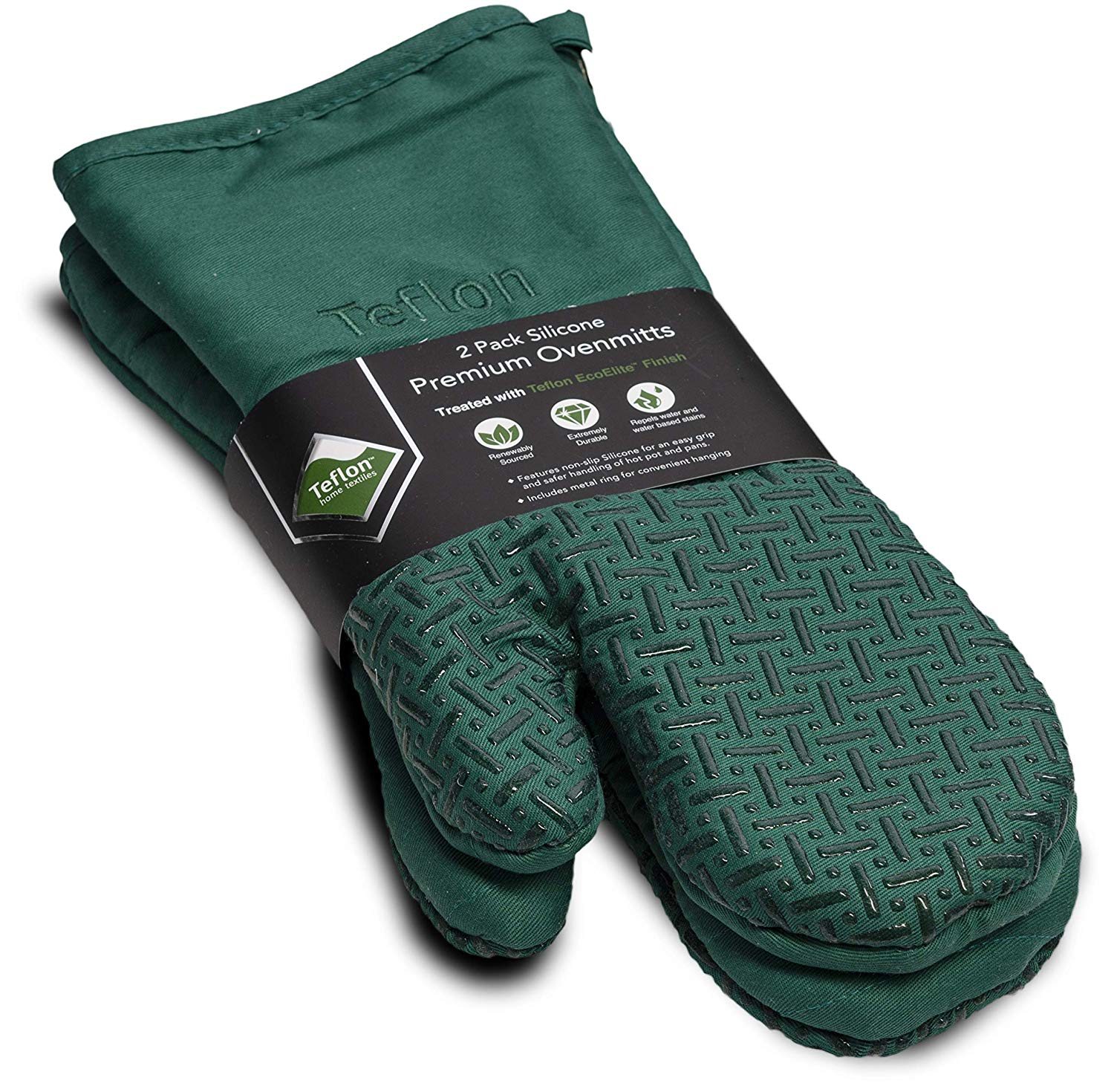 XLNT Extra Long Green Oven Mitts, Waterproof and Heat Resistant