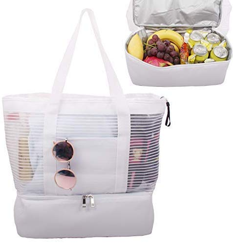 Large Mesh Beach Tote Bag with Zipper