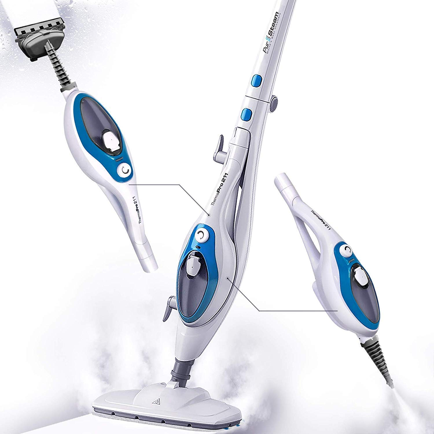 Steam Mop Cleaner ThermaPro 10-in-1 with Convenient Detachable Handheld Unit