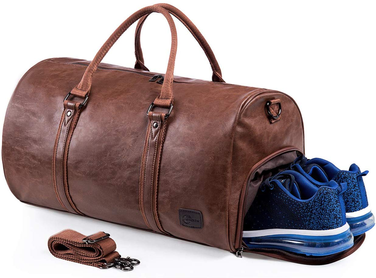 Leather Travel Bag with Shoe Pouch - Leather Bag For Men