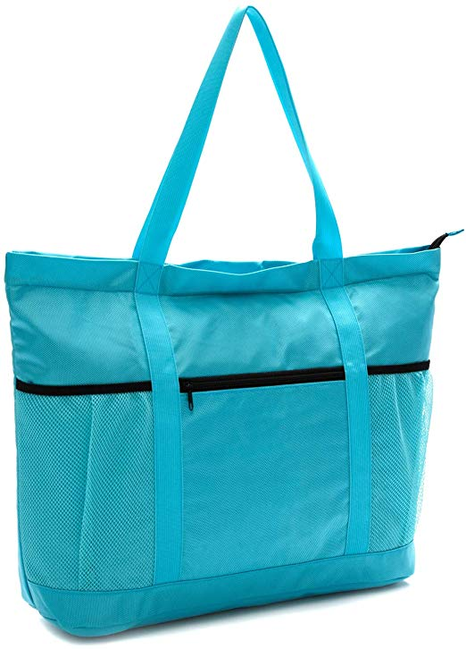 Large Foldable Beach Bag With Zipper