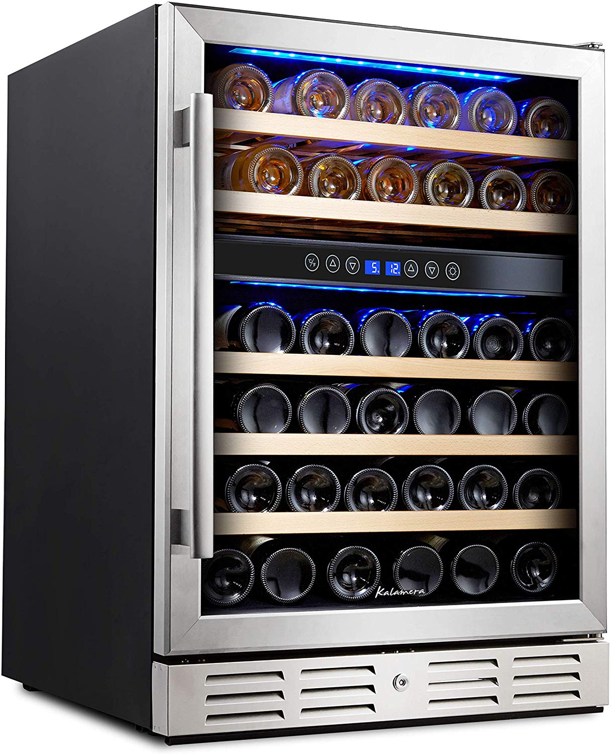 Kalamera 24'' Wine refrigerator 46 Bottle Dual Zone Built-in