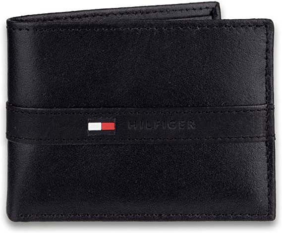 Tommy Hilfiger Men's Thin Sleek Casual Bifold Wallet with 6 Credit Card Pockets