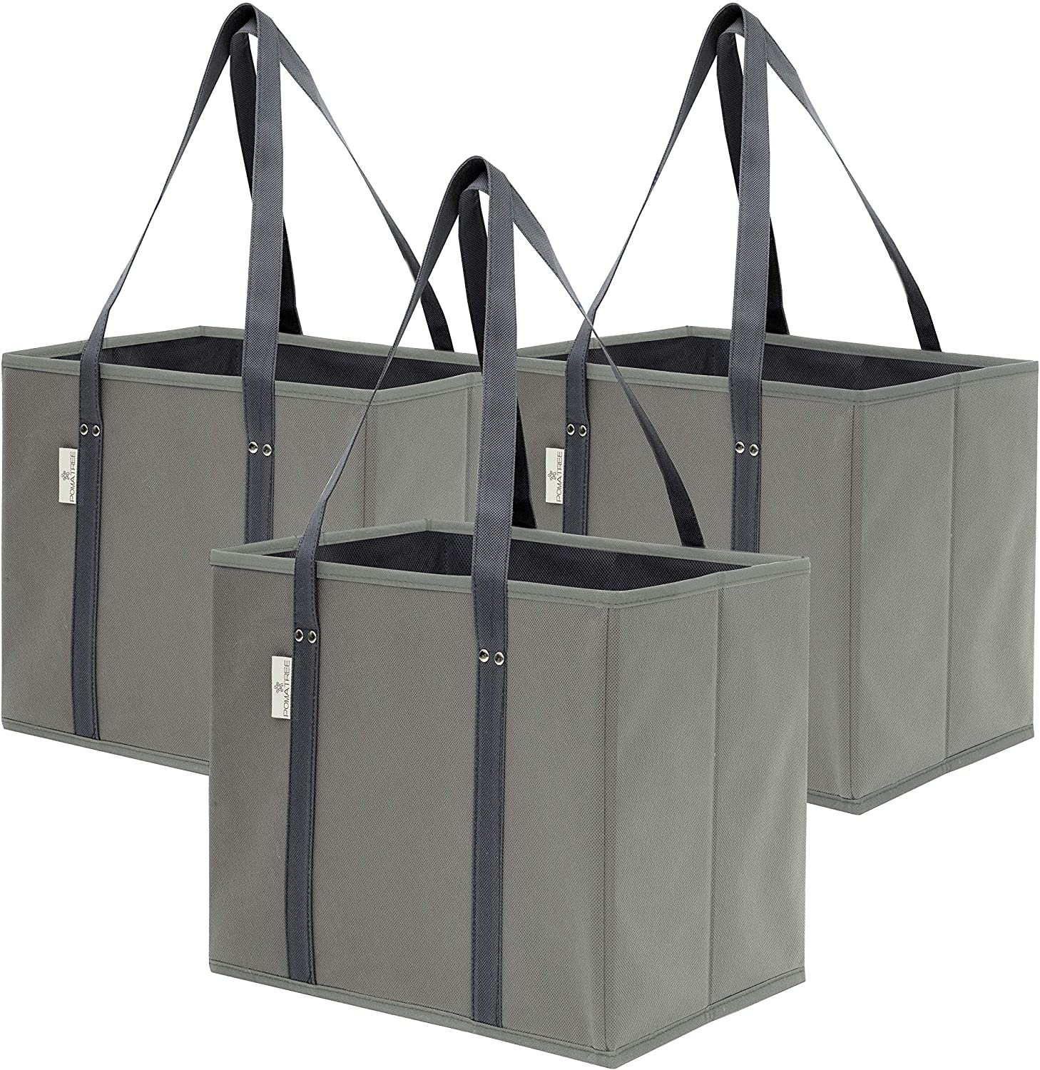 Premium 3 pack reusable grocery shopping box bags