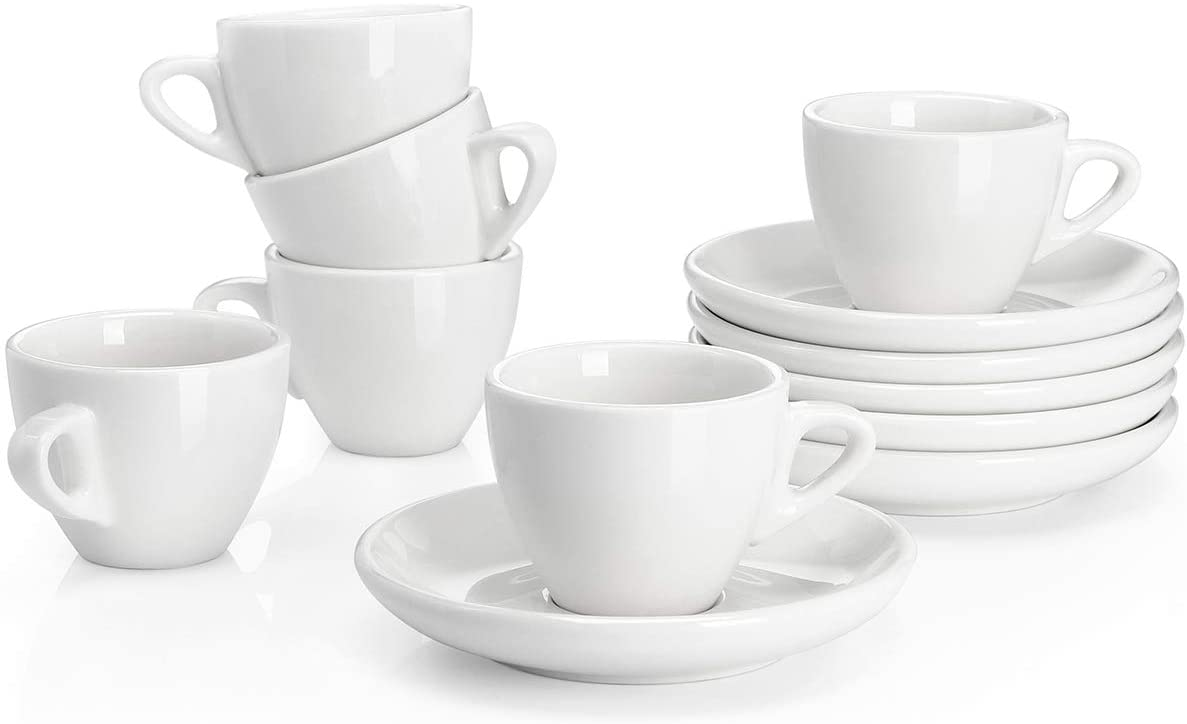 Sweese 401.001 Porcelain Espresso Cups with Saucers