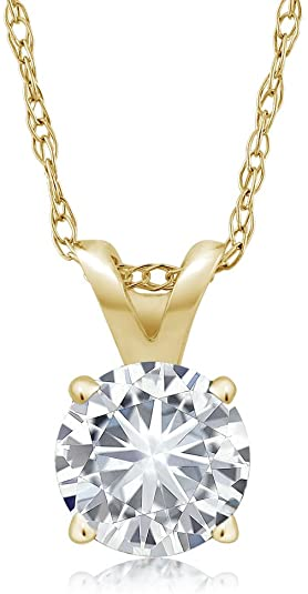GEM STONE KING 14K Yellow Gold Solitaire Pendant