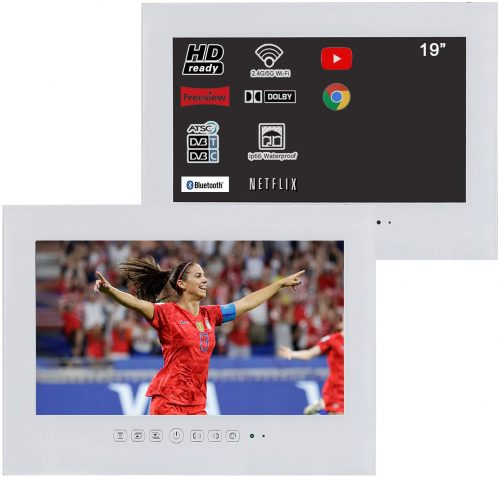 "Soulaca 19"" Smart Android White ip66 Waterproof Bathroom LED TV"