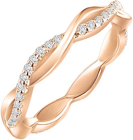 PAVOI Twisted Rope Eternity Band for Women