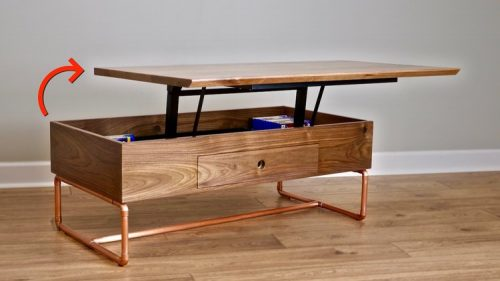 How to lift and lower the top of the lift top coffee table?