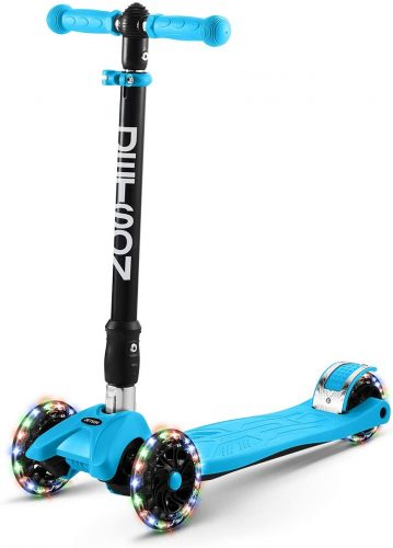 Jetson Twin Folding 3-Wheel Kick Scooter with Light-Up Wheels, Lean-to-Steer Design and Height Adjustable Handlebar, for Kids 5 and Up