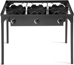 GYMAX Outdoor Stove, 3-Burner High Pressure Propane Gas Camp Stove with Detachable Legs